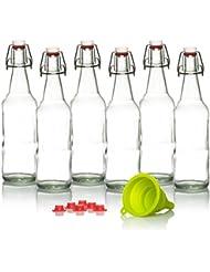 Kombucha Bottles Swing Top - Grolsch Style For Brewing Kombucha, Soda, Beer 16 Oz (6 Set) Bonus Gaskets and Funnel