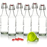Kombucha Bottles Swing Top - Grolsch Style For Brewing Kombucha, Soda, Beer 16 Oz (6 Set) Bonus Gaskets and Funnel