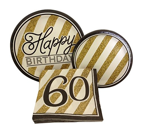 Black and Gold Happy 60th Birthday Party Bundle with Paper Plates and Napkins for 8 (60th Birthday Paper Plates)