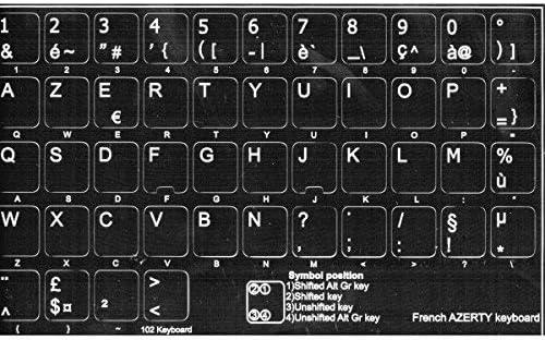 AdesiviTastiera.it - Pegatinas letras de teclado francés Azerty fondo negro letras blancas.