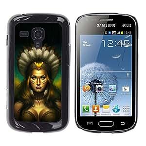 Qstar Arte & diseño plástico duro Fundas Cover Cubre Hard Case Cover para Samsung Galaxy S Duos / S7562 ( Native Indian Woman Sexy Amazon Boobs)