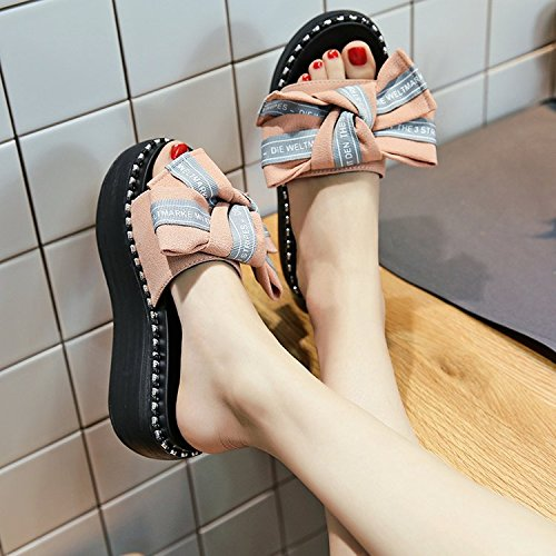 zapatillas pajarita la que blanco Transpirable AJUNR elegante Moda 39 con 6cm Bizcocho 36 gruesos y Sandalias zapatos pendiente wqv804vPx