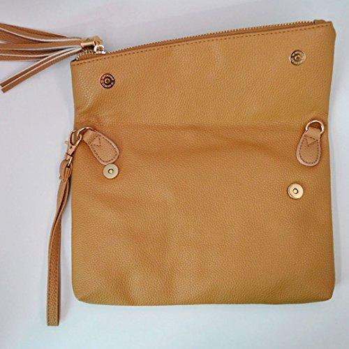 Bags Pu Tassel Shoulder Leather Envelope Girls Khaki Crossbody Bag Womens Foldover Meliya Wristlet Handbag gUXRww