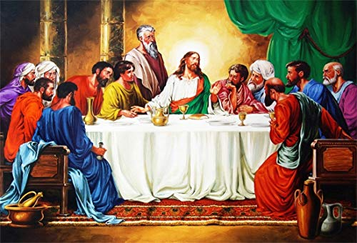 Yeele 7x5ft Photography Background Last Supper of Jesus Christ with Twelve Apostles On Holy The Savior His Disciples On Maundy Thursday Christmas Religious Studio Props Photo Backdrop Wallpaper -