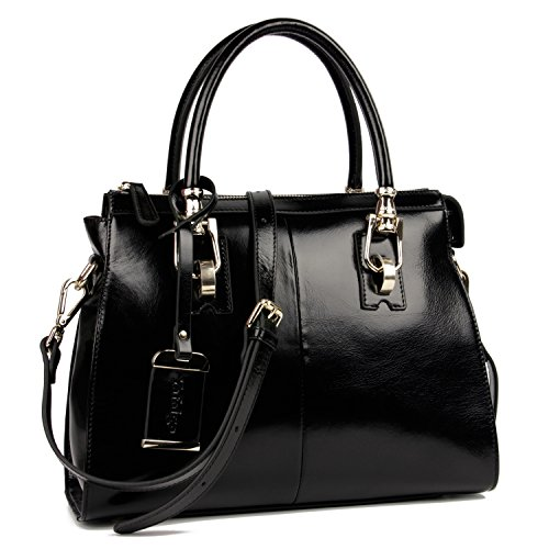 Yafeige Womens/Lady's Handbag Vintage Luxury Wax Genuine Leather Tote Shoulder Bag Satchel Purse(Black) by Yafeige
