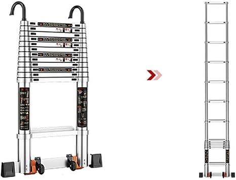 AOLI Escalera telescópica plegable, escalera recta telescópica portátil con polea móvil Escalera ascendente de elevación de aleación de aluminio Escalera segura Escalera plegable,4.6m: Amazon.es: Bricolaje y herramientas