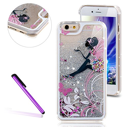 Stars Protective Case Silver Hard - iPhone 6 Case,iPhone 6S Case LEECO 3D Brilliant Luxury Bling Glitter Liquid Floating Stars Moving Hard Protective Phone Case Cover for Apple iPhone 6 / 6S 4.7 inch (Butterfly Angel, Silver)