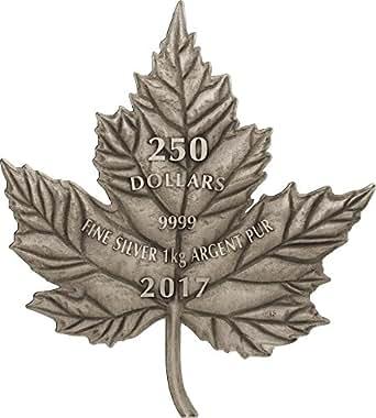 2017 CA Modern Commemorative MAPLE LEAF Cut Out Antique Finish 1 Kg Kilo Silver Coin 250$ Canada 2017 Antique Finish