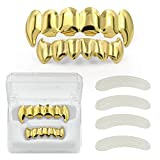 Hip Hop Gold Plated Vampire Fangs Teeth Caps Grillz Set with 4 Silicon Molding Bars (2 Extra)
