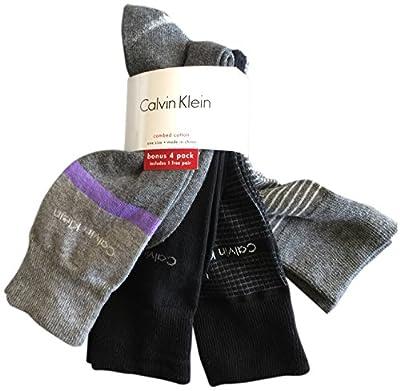Calvin Klein Men's Dress Socks 4 Pack Patterned Black Grey