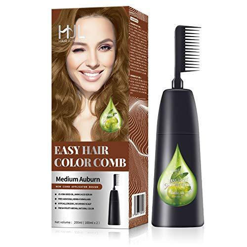 HJL Hair Color Ammonia-Free with Comb Applicator Easy Use Hair Dye Cream Hair Coloring Kit, Medium Auburn (Medium Brown), Pack of 1