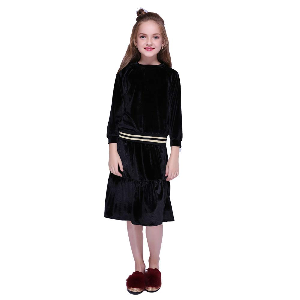 Vintage Style Children's Clothing: Girls, Boys, Baby, Toddler Kseniya Kids Clothes Velvet Girls Clothing Sets Autumn Winter Long Sleeve Coat+Skirt 2 Piece Set Girl Outfit $23.55 AT vintagedancer.com