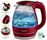 Ovente 1.5L BPA-Free Glass Electric Kettle Fast Boil Cordless Maroon