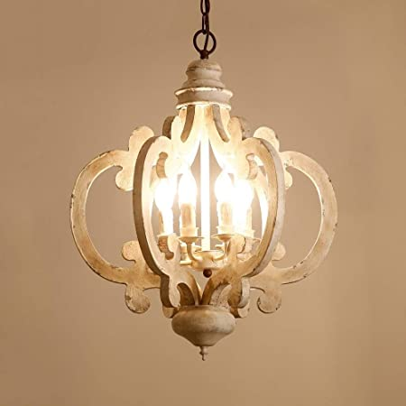 Vintage Elegant Weathered Wood & Iron 6 Light Candle Style Chandelier in Distressed White