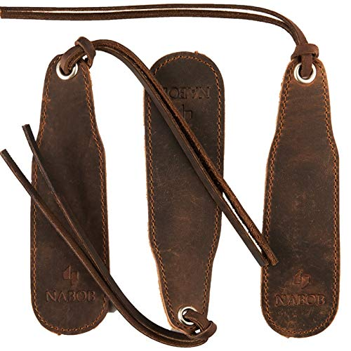Leather Bookmark Handmade - Genuine Leather Book Marks - Perfect Bookmark for Men Women and Kids | Great Idea for Leather Gifts for Bookworms Writers Relatives and Friends (3 Bookmarks)]()