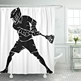 Emvency 66''x72'' Shower Curtain Waterproof Home Decor Player Lacrosse Defense Stance Action Active Alert Athlete Elbow Fitness Game Picture Print Polyester Fabric Adjustable Hook