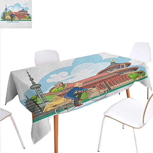 Warm Family Ancient China Customized Tablecloth Chinese Elements Traditional Architecture and Costumes Behind a Cycling Man Stain Resistant Wrinkle Tablecloth 54