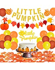 Little Pumpkin Party Decorations for 1st Birthday Pumpkin Themed Party Supplies for Baby Shower with Banner Cake Topper Maple Leaves