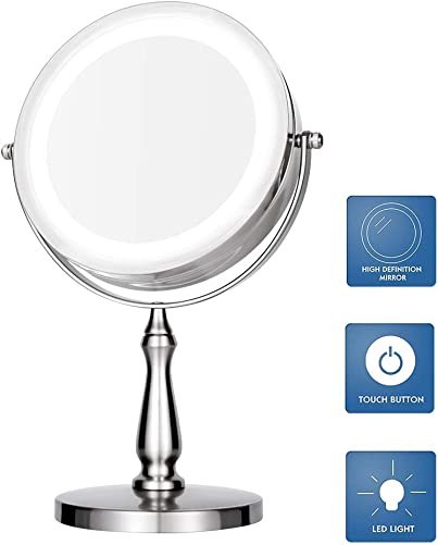 TAOKEY Professional Makeup Mirror,Lighted Makeup Mirror,Lighted Vanity Mirror, Double Sided Round Shape with Swivel Magnifying Mirror 1x 5X 360 .Polished Chrome Finish 5X