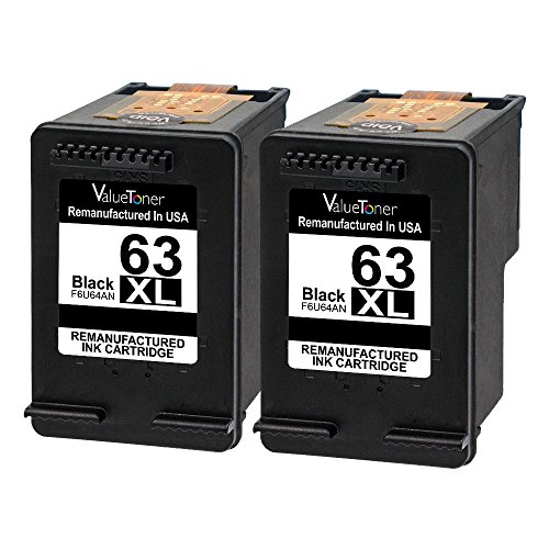 ValueToner Remanufactured Ink Cartridge for HP 63XL 63 XL Compatible with Officejet 4650, Envy 4520 4512 4516 Officeje 3830 3833 4655 Delskjet 1112 2130 3630 3633 3634 High Yield (2 Black)