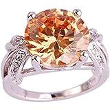 Morganite Champagne & White Topaz Gems Silver Ring US Size 6 7 8 9 10 11 12 13 (9)