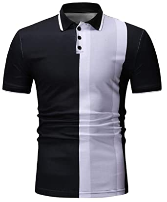77f4e80b Fubotevic Men Business Contrast Casual Short Sleeve Slim Fit Golf Polo  Shirt Black S