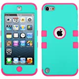 MyTurtle TM iPod Touch 5 5th Generation Heavy Duty Defender Tuff Hybrid Hard Case with Touch Screen Stylus and Screen Protector (Rubberized Teal Green/Electric Pink)