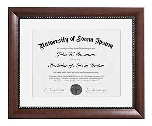 11x14 Mahogany Document Frame - Made to Display Certificates 8.5x11 inch with Mat and 11x14 inch without Mat, Classic Style, Color: Mahogany Brown - Document Frames, Certificate Frames, Diploma (Mahogany Frame)