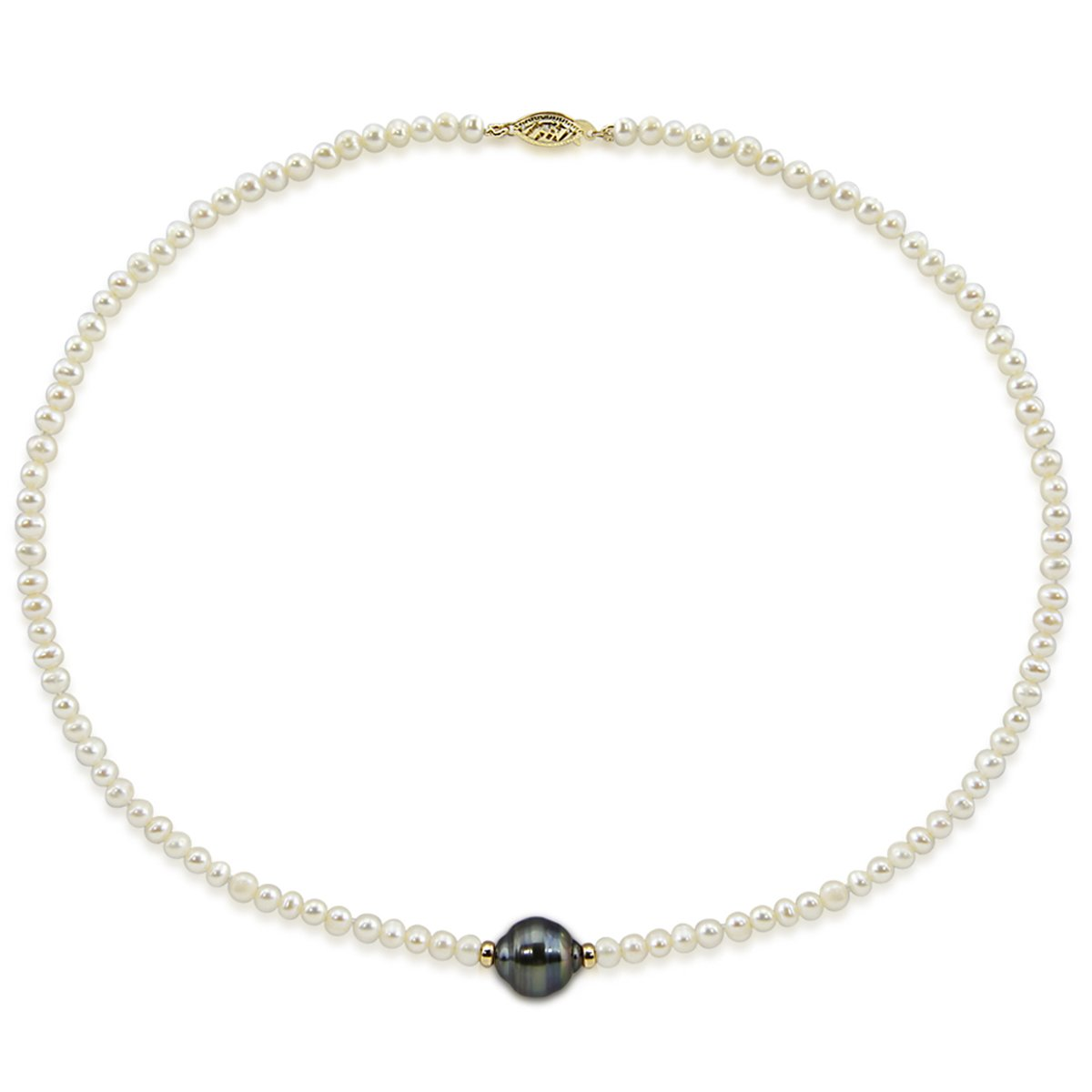 14k Yellow Gold 11-12mm Tahitian Cultured Pearl and 4-5mm White Freshwater Cultured Pearl Necklace,16