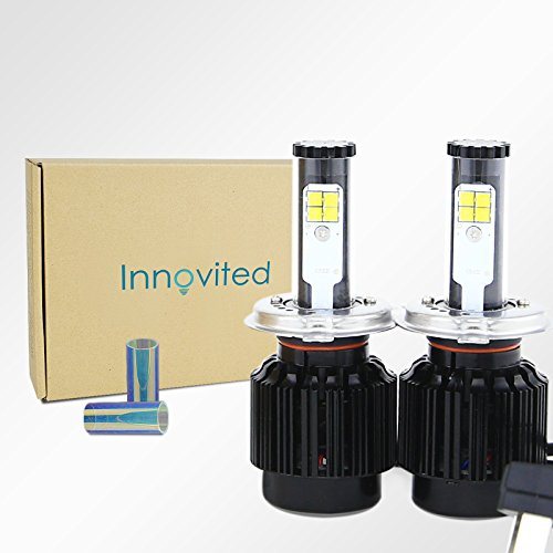 Innovited LED Headlight Bulbs Conversion Kit - H4 (9003 HI/LO) 9003-7,200Lm 60W 6000K Cool White CREE - 2 Yr Warranty ()