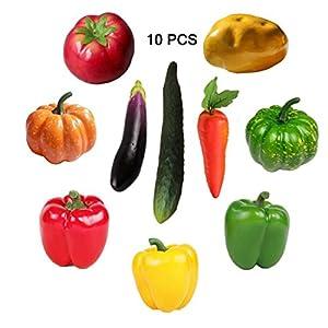 Lorigun 10 Pieces/Set Artificial Vegetables Simulation Vegetables Decoration Kitchen Home Decor Realistic Fake Vegetables Decor Set Photo Props 1