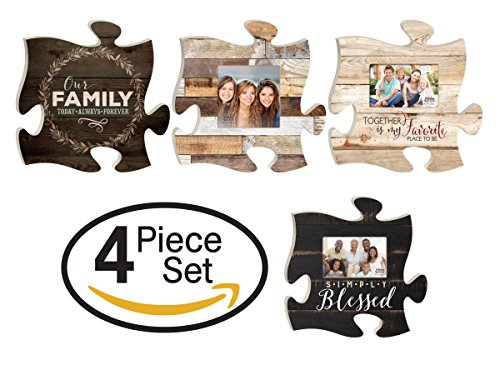 - P. Graham Dunn Our Family Simply Blessed Together Puzzle Piece Interlocking Wall Plaque and Photo Frames Set of 4