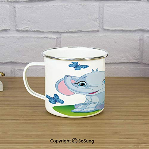 Nursery Enamel Coffee Mug,Cute Baby Elephant Sitting on the Meadow in Spring Time with Butterflies,11 oz Practical Cup for Kitchen, Campfire, Home, TravelBaby Blue Pink Green