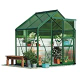 Polycarbonate Greenhouse Large Walk-in Garden Growhouse, Rust-proof Frame, Sliding Door & Supported Twin Wall Panels with Steel Base 6x4' (Standard Green)