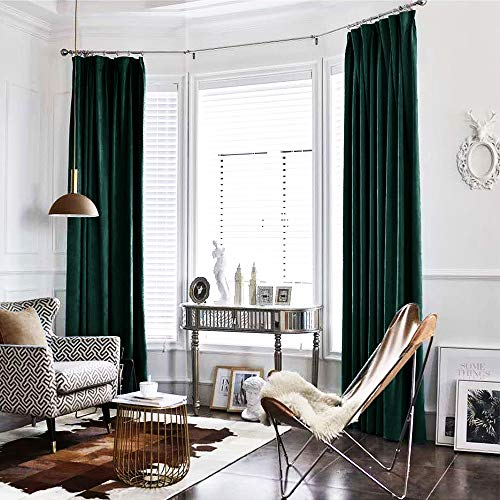 jinchan Velvet Curtain Green Living Room Rod Pocket Window Curtain Panel 84 inch Long Bedroom Thermal 1 Panel