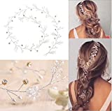 Jovono Wedding Headpiece Bridal Headband Hair Vine Accessory for Women and Girls (Silver)