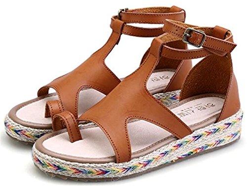 DADAWEN Women's Espadrilles Flat Sandals Beach Open-Toe Shoes Brown AzsqdJlk4C