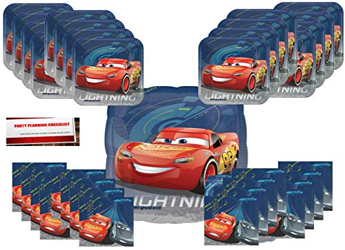 (Cars 3 Birthday Party Supplies Bundle Pack for 16 Plus 17 inch Cars Balloon (Plus Party Planning Checklist))
