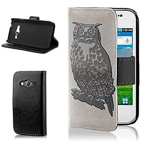Búhos 10011, Negro Funda de Piel Cuero Case Magnética con Función de Soporte Carcasa con Diseño Colorido para Samsung Galaxy Ace 4 G357