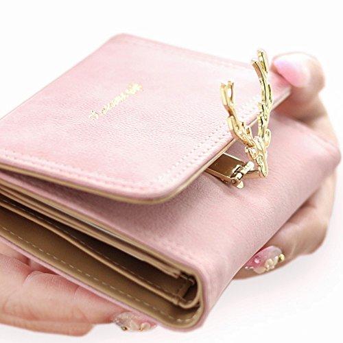 ArtemisIris Damen Kompakt Kleine Rotwild-Typ Verschluss-Mappe Elegante Nubuk Trifold Geld Änderung Karten Halter Organizer Kurze Geldbörse, auffällige Design, Kaffee schwarz
