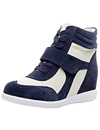 Rismart Women's Hidden Wedge Heel Comfort Leather Fashion Sneakers