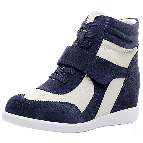 amp;Loop Navy rismart Hook amp;Suede Sneakers Leather amp;beige Fashion Casual Wedge Women's Fabric 1qW4qTIw