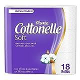 Kleenex Cottonelle Soft, Papel Higiénico, color Blanco, 18 Rollos