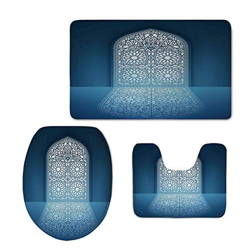 Fashion 3D Baseball Printed,Arabian,Doors of Antique Mosque Grace Faith Theme Islamic Ethnic Illustration Print,White Turquoise,U-Shaped Toilet Mat+Area Rug+Toilet Lid Covers 3PCS/Set by iPrint