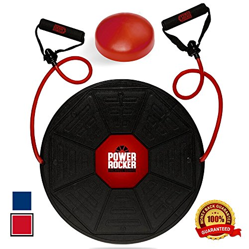 Power Rocker Balance Board - Premium Wobble Board - Adjustable Height - Bonus Resistance Tube Set - Complete Stability & Core Training - Physical Therapy and Injury Rehabilitation