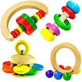 SZTARA Baby Kids Wooden Bell Rattle Toy Handbell Musical Education Percussion Instrument Funny Toys Gift for Children Toddler (1 Pc,Random Design)