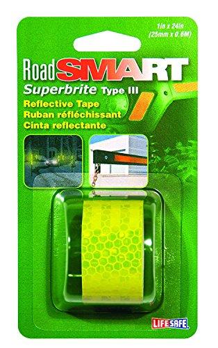 "Life Safe: Road Smart Super Brite Fluorescent Reflective Tape, 1"" x 24"", Lime"
