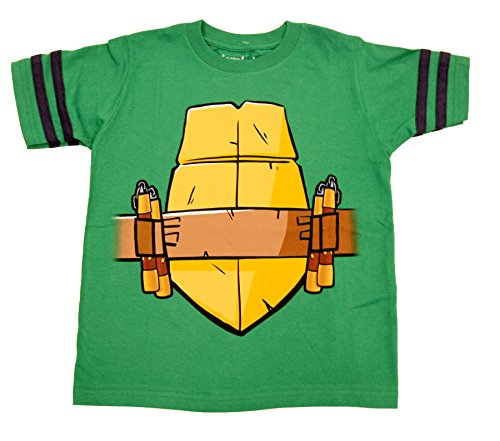 Teenage Mutant Ninja Turtles Michelangelo Nunchucks Boys Striped Sleeves Costume T-Shirt (Boys 4)
