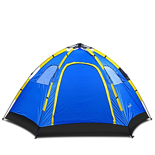 Instant Family Tent - 4 Person Large Automatic Pop Up for Outdoor Sports Camping Hiking Travel Beach with Zippered Door and Carrying Bag in Blue