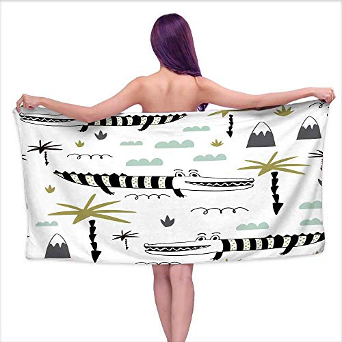 - Ediyuneth Luxury Bath Towels Seamless Childish Pattern with Hand Drawn Cute Alligators Creative Kids Texture for Fabric Wrapping Textile Wallpaper Apparel Vector Illustration,W20 xL39 for Men red